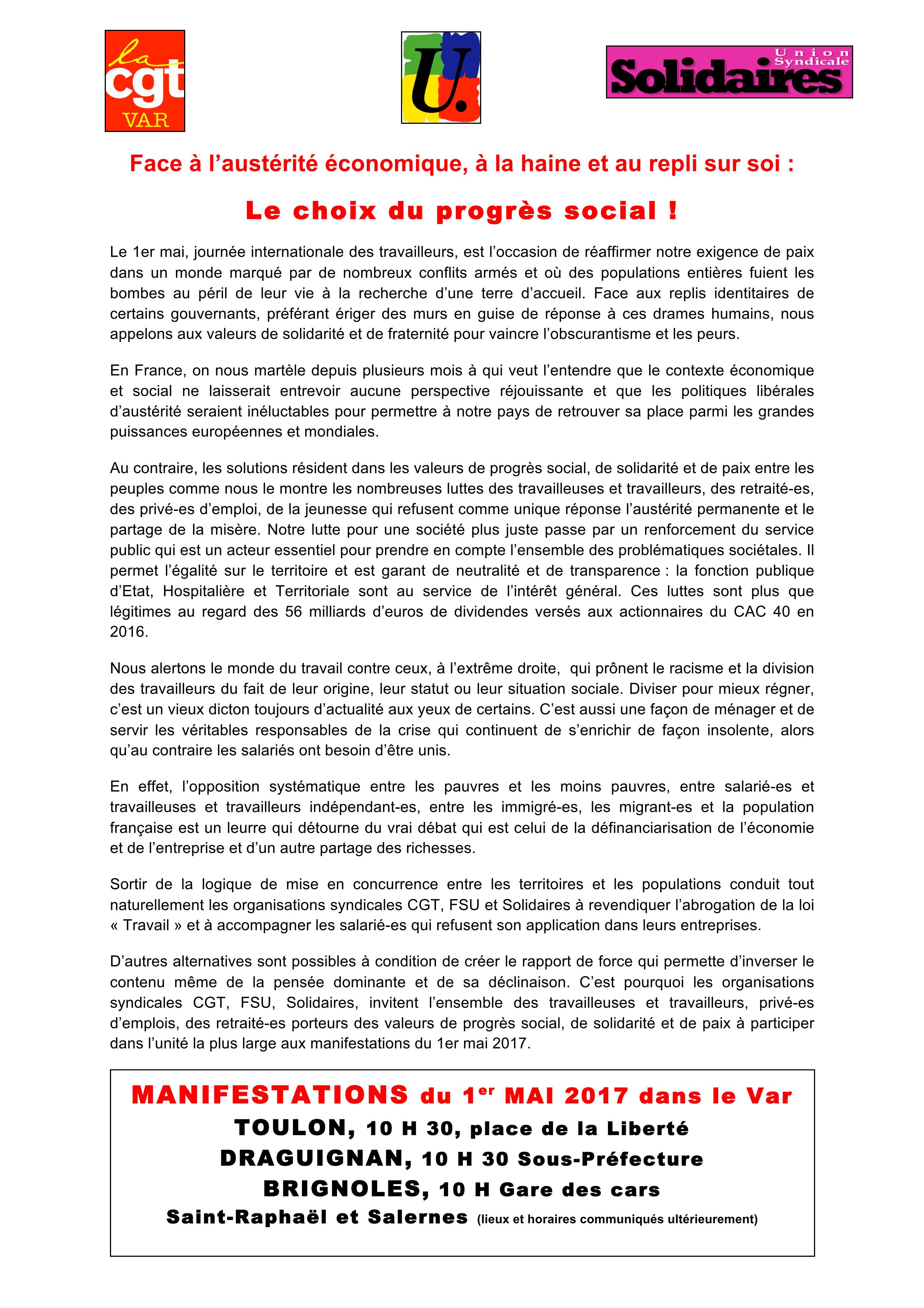 c15b8371cc9736 1er mai   Face à l austérité économique, à la haine et au repli sur ...